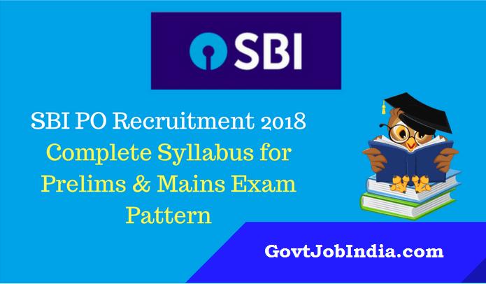 SBI PO 2018 Syllabus for Prelims & Mains Exams