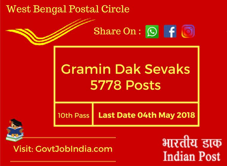 West Bengal postal circle recruitment notification