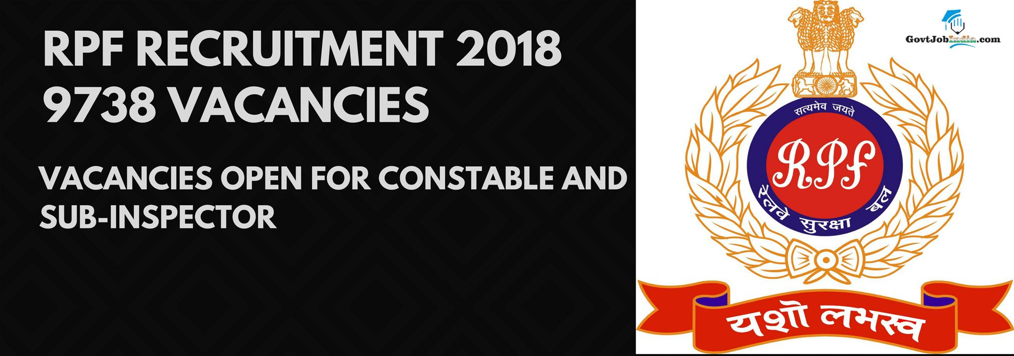 RPF Recruitment 2018 Constables & SI Vacancies - RPF Online Form