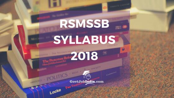 RSMSSB Syllabus NOtification
