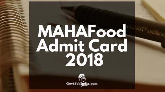 MAHAFood SI Call Letter, SI Admit card - Hall Ticket