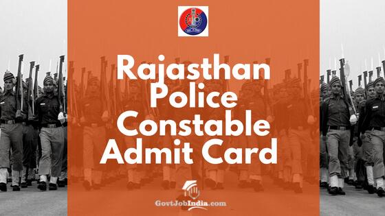 Raj Police constable Admit card