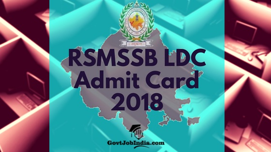 RSMSSB LDC/JA Admit Card/ hall ticket