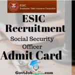 ESIC SSO Admit Card