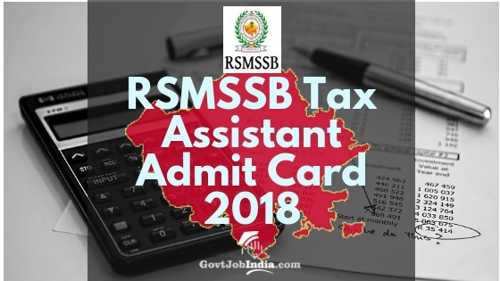 RSMSSB Tax Assistant Admit card and Exam Date 2018