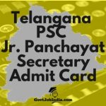 TSPSC Jr panchayat Secretary Admit Card