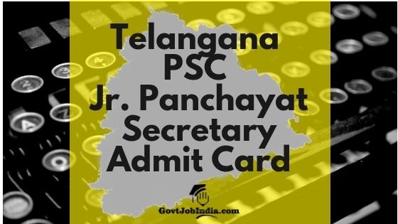 TSPSC Jr panchayat Secretary Admit Card