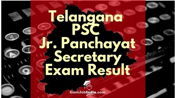 TSPSC Junior Panchayat Secretary Exam result