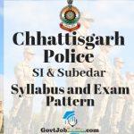 CG police SI and Subedar Syllabus