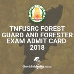 TNFUSRC Forest Guard Admit Card Download