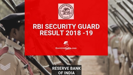 RBI Security Guard Result and Cut off marks 2018