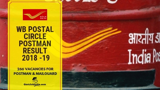 WB Post office Postman Exam Cut off marks and Result 2018