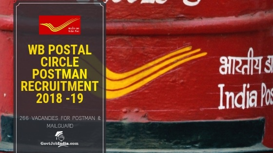 West Begal Post office Postman recruitment 2018 -19
