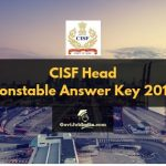 CISF Head Constable Computer Based Test Answer Key 2019