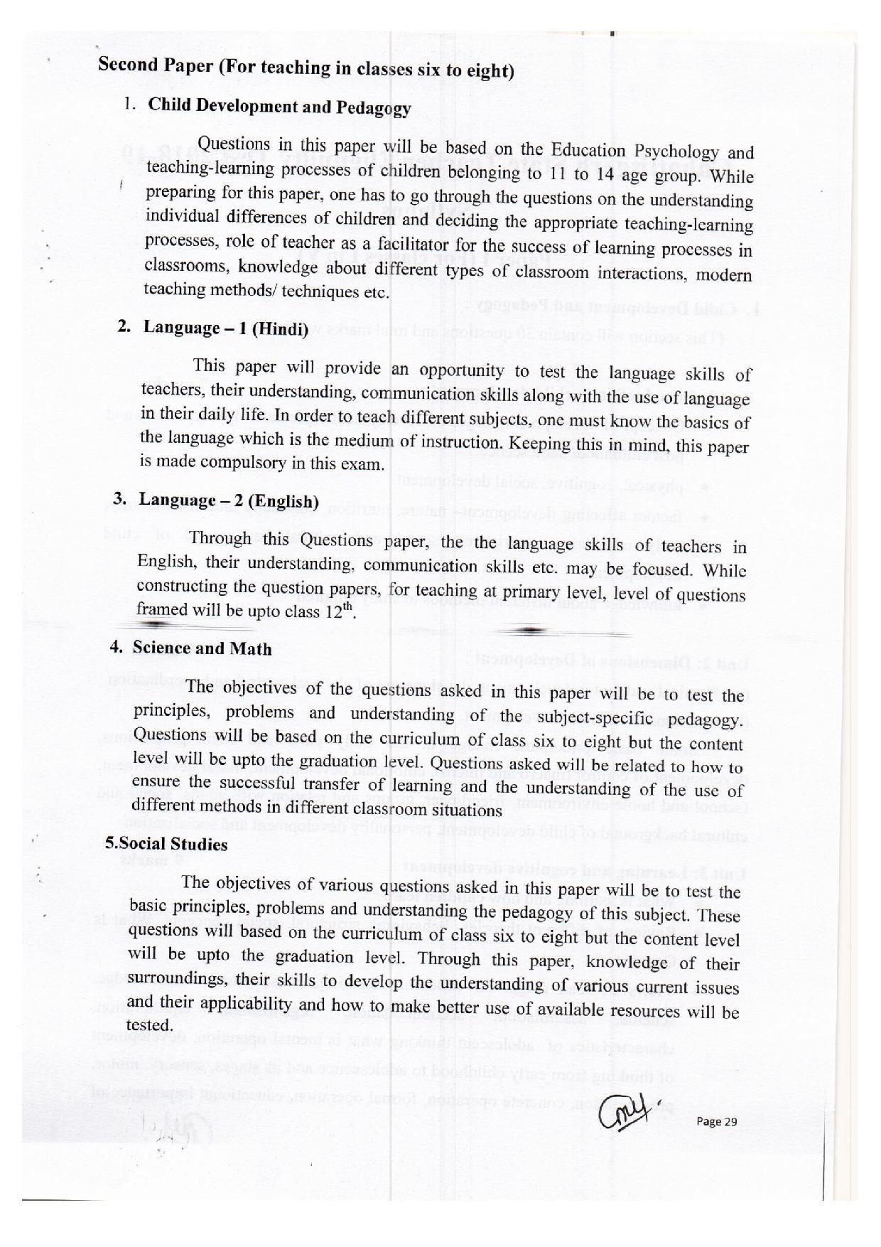 Cg TET Upper Primary Level Exam syllabus 2019