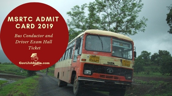 MSRTC Admit Card 2019 Download oNline