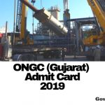 ONGC Gujarat Admit card 2019