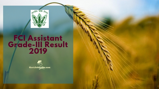 FCI Assistant Grade 3 Exam Result
