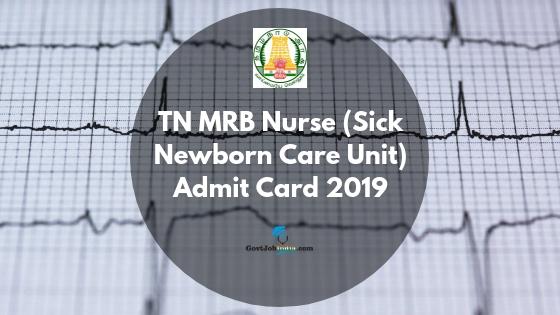 TN MRB Admit Card 2019