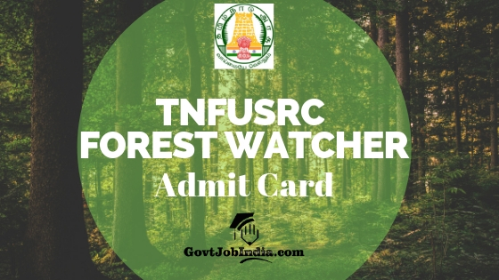 TN Forest Watcher hall Ticket
