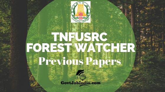 Tamil Nadu Forest Watcher Previous Question Paper