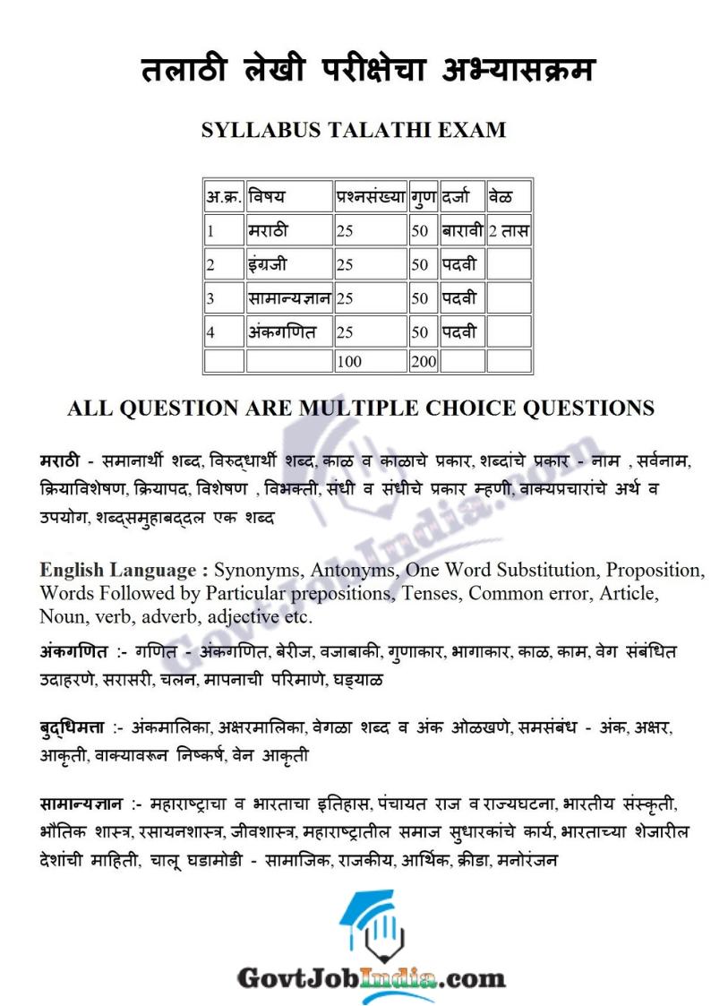 Maharashtra Talathi Bharti Syllabus 2019 in Marathi PDF