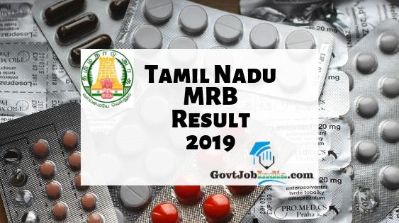 Tamil Nadu MRB Pharmacist Result 2019