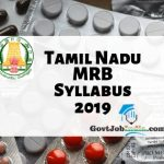 TN MRB Pharmacist Syllabus 2019