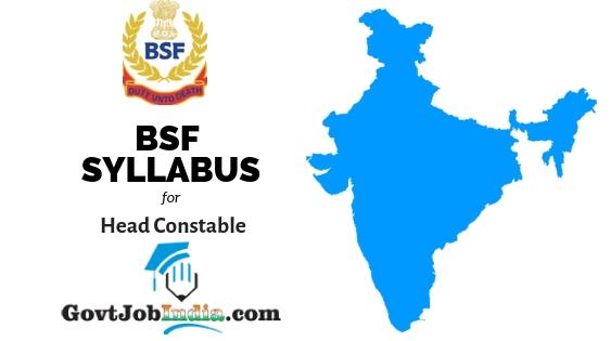 BSF Head Constable Syllabus 2019