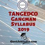 TANGEDCO Gangman Syllabus PDF Download 2019