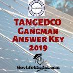 TANGEDCO Gangman Answer Key 2019